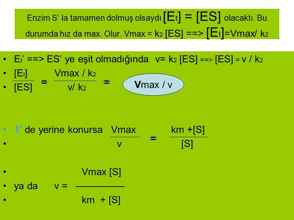 Et' ==> ES' ye eşit olmadığında v= k2 [ES] ==> [ES] = v / k2